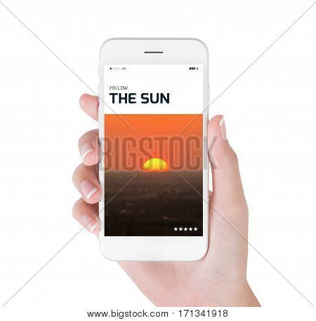 Woman using her smart phone for searching the Beautiful Sunrise over the woodland information. Traveling concept isolated on white background.