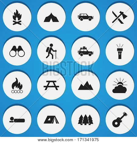 Set Of 16 Editable Camping Icons. Includes Symbols Such As Bedroll, Field Glasses, Voyage Car And More. Can Be Used For Web, Mobile, UI And Infographic Design.