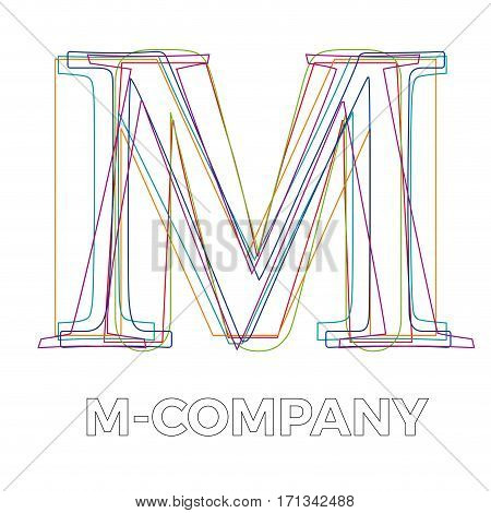 Vector sign linear letter M, isolated on white