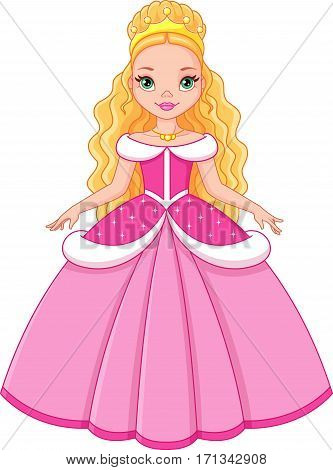 Cinderella, princess pink on a white background
