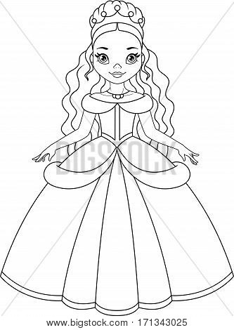 Cinderella, cute princess coloring page, EPS 8