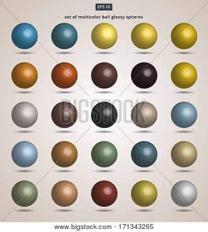 set of multicolor ball glossy spheres Vector illustration for design
