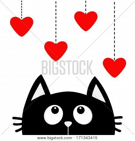 Black cat looking up to hanging red hearts. Dash line. Heart set Cute cartoon character. Valentines Day. Kawaii animal. Love Greeting card. Flat White background. Isolated. Vector illustration