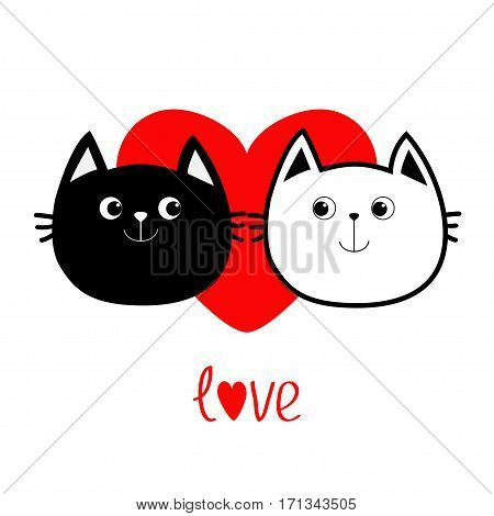 Black White contour Cat head couple family icon. Red heart. Cute funny cartoon character. Word love Valentines day Greeting card. Kitty Whisker Baby pet collection background. Isolated. Flat Vector