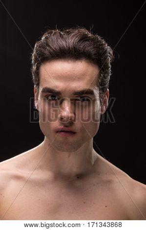 Young Man Head Face Closeup Jawline