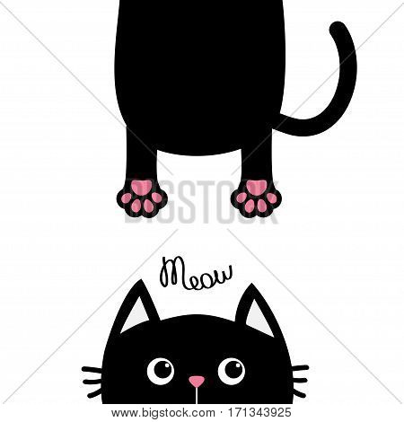 Black cat Funny face head silhouette. Meow text. Hanging fat body with paw print tail. Cute cartoon character. Kawaii animal. Baby card. Pet collection. Flat design White background. Isolated. Vector
