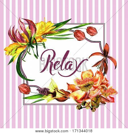 Tropical Hawaii leaves and flowers frame in a watercolor style isolated. Aquarelle wild flower for background, texture, wrapper pattern, frame or border.