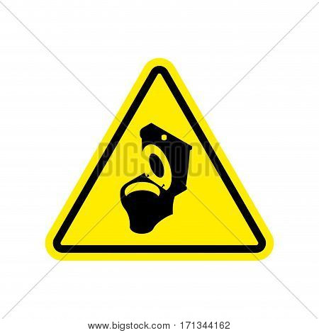 Warning Wc. Toilet Bowl On Yellow Triangle. Road Sign Attention