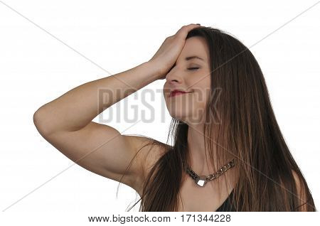 Beautiful forgetful woman with her hand face palming on her forehead poster