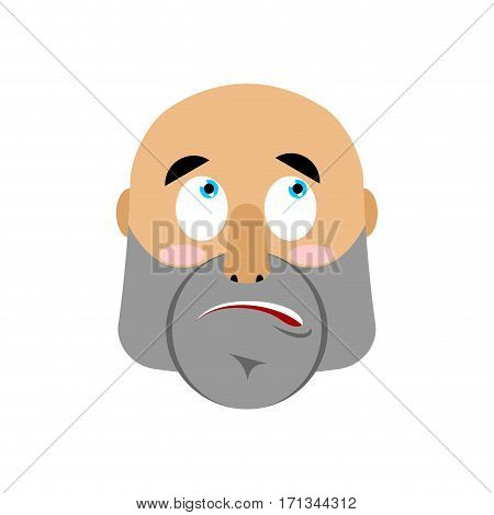 Brutal Man Surprising Emoji. Men Face Astonished Emotion Isolated