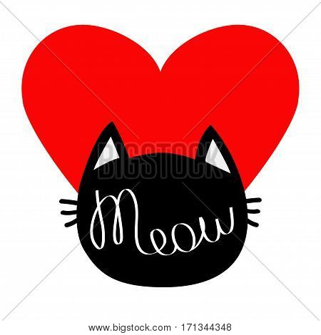 Black cat head silhouette shape. Meow lettering text. Cute cartoon character. Big red heart. Love card. Kawaii animal. Baby pet collection. Sign Symbol. Flat White background. Isolated. Vector