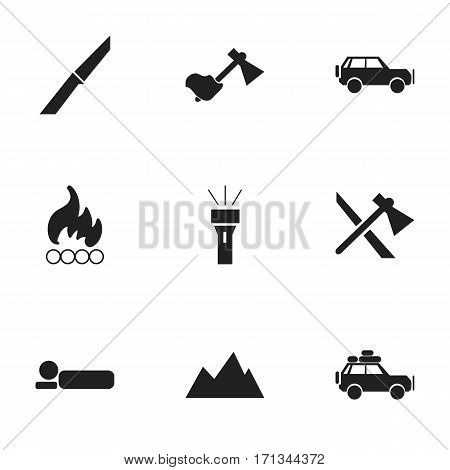 Set Of 9 Editable Camping Icons. Includes Symbols Such As Blaze, Voyage Car, Ax And More. Can Be Used For Web, Mobile, UI And Infographic Design.