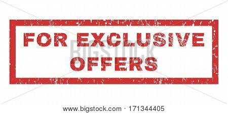 For Exclusive Offers text rubber seal stamp watermark. Caption inside rectangular banner with grunge design and dust texture. Horizontal vector red ink sticker on a white background.