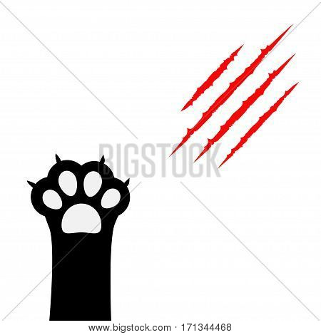 Black cat scratching paw print leg foot. Bloody claws animal red scratch scrape track. Cute cartoon character body part silhouette. Baby pet collection. Flat design. Isolated. White background. Vector