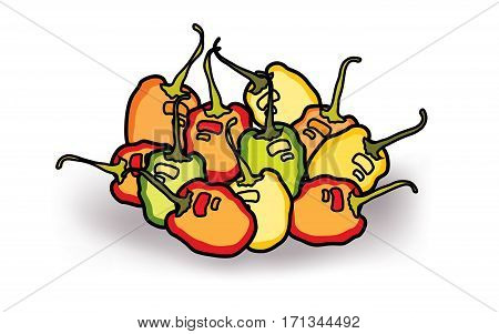 Red, green and yellow habanero peppers on with background