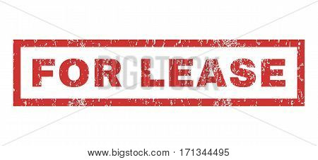 For Lease text rubber seal stamp watermark. Caption inside rectangular shape with grunge design and unclean texture. Horizontal vector red ink sticker on a white background.