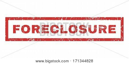 Foreclosure text rubber seal stamp watermark. Caption inside rectangular banner with grunge design and scratched texture. Horizontal vector red ink emblem on a white background.