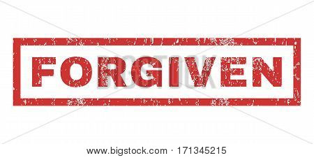 Forgiven text rubber seal stamp watermark. Caption inside rectangular banner with grunge design and scratched texture. Horizontal vector red ink sign on a white background.