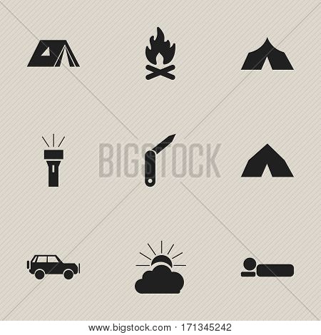 Set Of 9 Editable Travel Icons. Includes Symbols Such As Refuge, Shelter, Sport Vehicle And More. Can Be Used For Web, Mobile, UI And Infographic Design.