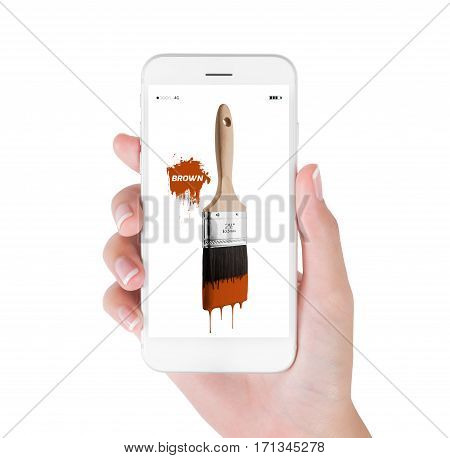 Woman using smart phone searching paintbrush loaded brown color dripping off bristles. Art and Design concept isolated white background.
