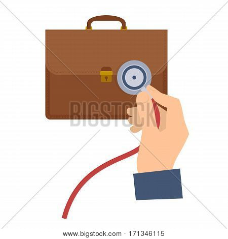 Business consultant using a stethoscope on a briefcase. Flat vector concept illustration of businessman hand with stethoscope case. Man check a business health. Web presentation infographic element.