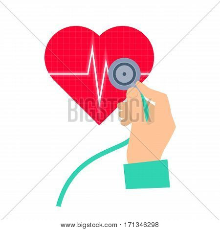 Doctor using a stethoscope hears a heart pulse. Medicine and health care flat concept illustration. Hand stethoscope and heart with pulse. Vector element for medical and healthy infographic.