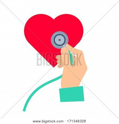 Doctor using a stethoscope to hear a heart pulse. Medicine and health care flat concept illustration. Hand stethoscope and heart. Vector element for medical healthy infographic for web presentation