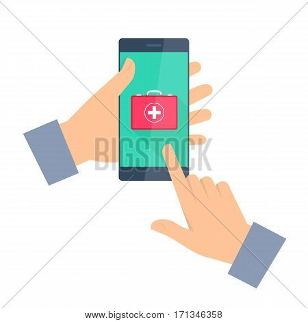Man gets first aid by phone. Telemedicine and telehealth flat concept illustration. One hand holding smartphone another touching a red first aid box icon on a screen. Vector tele medicine infographic