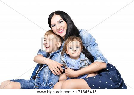 Portrait of a happy mother with her children, isolated on white background