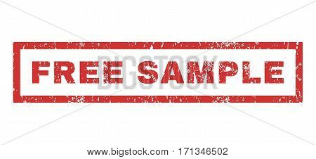 Free Sample text rubber seal stamp watermark. Tag inside rectangular banner with grunge design and dirty texture. Horizontal vector red ink emblem on a white background.