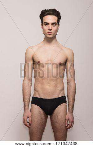Young Man Model Posing Shirtless Body Fit Slim