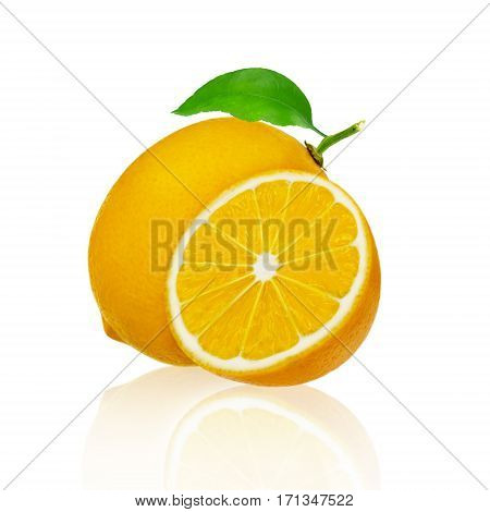 Whole lemon fruit and a piece isolated on white background with clipping path