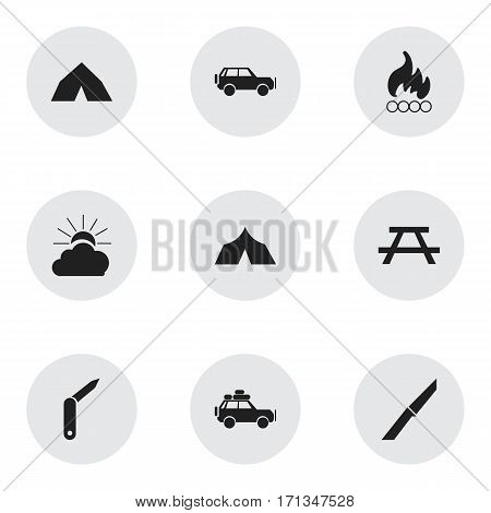 Set Of 9 Editable Camping Icons. Includes Symbols Such As Clasp-Knife, Voyage Car, Sport Vehicle And More. Can Be Used For Web, Mobile, UI And Infographic Design.