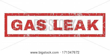 Gas Leak text rubber seal stamp watermark. Caption inside rectangular banner with grunge design and scratched texture. Horizontal vector red ink emblem on a white background.