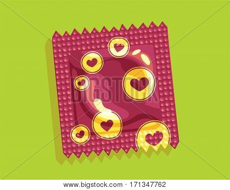Hearts condom package - Similar to the brazilian free distribution ones