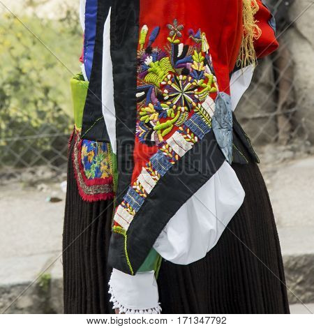 CAGLIARI, ITALY - May 1, 2013: 357 Religious Procession of Sant'Efisio - Sardinia - detail of a female traditional Sardinian costumes