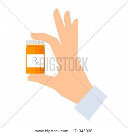 Apothecary holding container with drugs. Medicine and healthcare flat concept illustration. Human hand holding a bottle with rx prescription. Vector element medical infographic for web presentation.