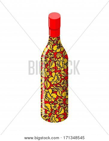 Russian Vodka Bottle Khokhloma Painting. National Folk Alcoholic Drink In Russia