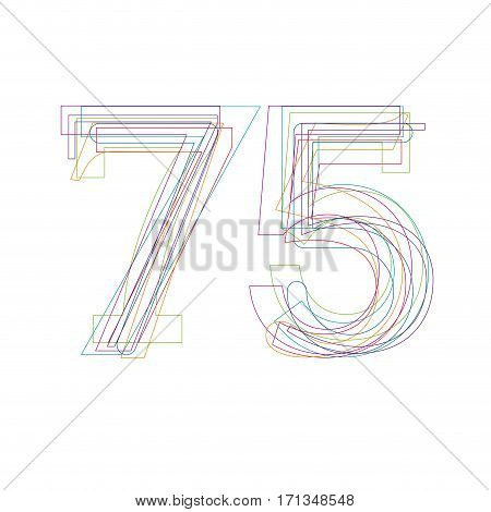 number 75 in outline, isolated on white