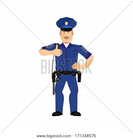 Police Officer Winks. Policeman Thumbs Up Cheerful Emotion