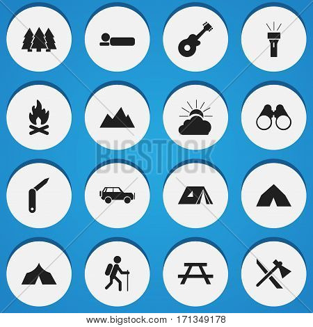 Set Of 16 Editable Camping Icons. Includes Symbols Such As Tomahawk, Clasp-Knife, Bedroll And More. Can Be Used For Web, Mobile, UI And Infographic Design.