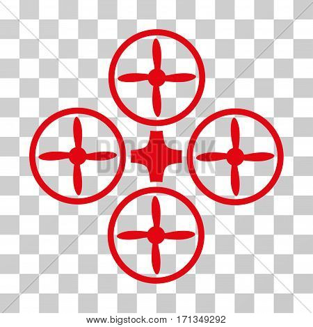 Quadcopter icon. Vector illustration style is flat iconic symbol red color transparent background. Designed for web and software interfaces.