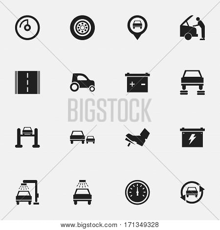 Set Of 16 Editable Vehicle Icons. Includes Symbols Such As Vehicle Car, Auto Repair, Treadle And More. Can Be Used For Web, Mobile, UI And Infographic Design.
