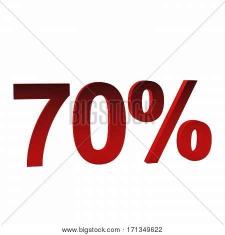 70 percent off, 3d rendering. Isolated on white