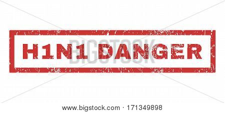 H1N1 Danger text rubber seal stamp watermark. Caption inside rectangular banner with grunge design and dust texture. Horizontal vector red ink sticker on a white background.