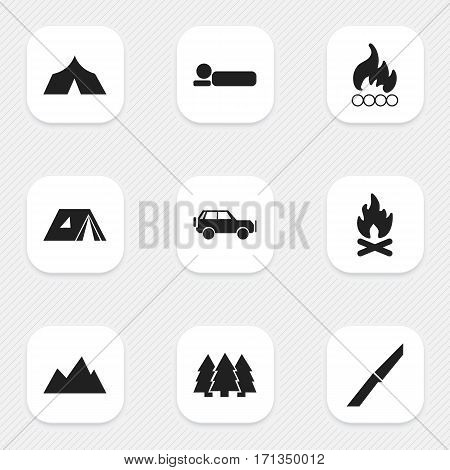 Set Of 9 Editable Travel Icons. Includes Symbols Such As Bedroll, Refuge, Knife And More. Can Be Used For Web, Mobile, UI And Infographic Design.