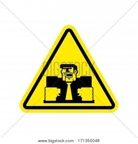 Attention Angry Boss. Chief To Yellow Triangle. Office Sign Of Caution!