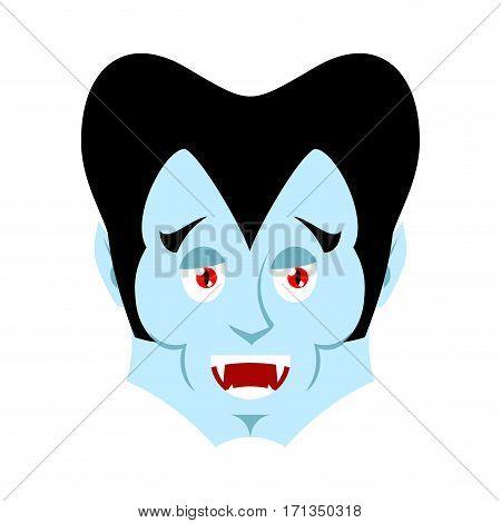 Dracula Happy Emoji. Vampire Merry Emotion Face Isolated