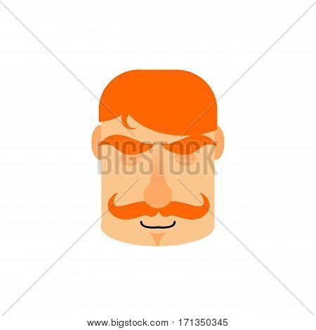 Vintage Irishman With Red Mustache Sleeping Emoji. Retro Men Face Asleep Emotion Isolated
