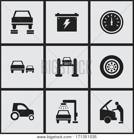 Set Of 9 Editable Vehicle Icons. Includes Symbols Such As Vehicle Wash, Tire, Vehicle Car And More. Can Be Used For Web, Mobile, UI And Infographic Design.